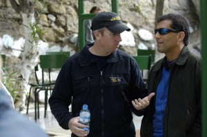 Cyrus Nowrasteh (rt. in sunglasses) on set with Director David Cunningham on location in Morocco